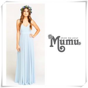 EUC Show me your MuMu Jenn Maxi Dress light Blue